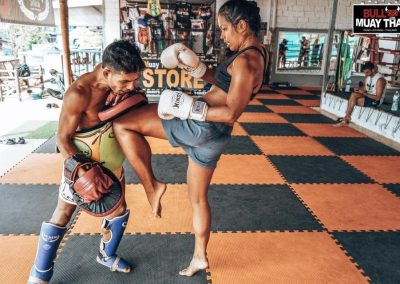 Muay Thai Intense Private Training Session Girl Kneeing
